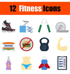 Flat design fitness icon set vector