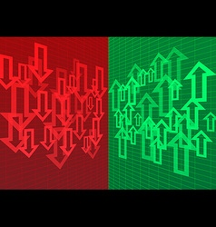 Arrow up and down abstract background red green vector