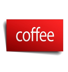Coffee red paper sign isolated on white vector
