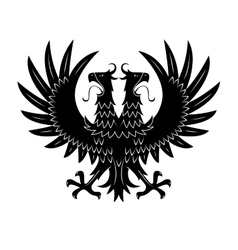 Royal heraldic double headed eagle black symbol vector