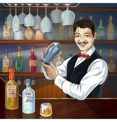 Smiling barman at work vector