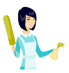Asian housemaid holding spray bottle and duster vector