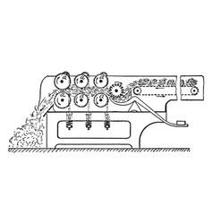Bale breaking machine vintage vector