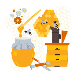 Beekeeping concept with products and equipment vector