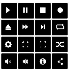 black media player icon set vector image vector image