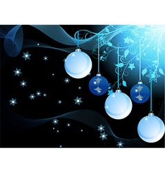 Blue Christmas baubles and waves vector image vector image