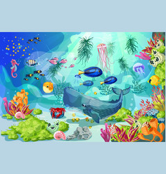cartoon colorful marine underwater life background vector image vector image