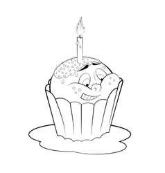 Cartoon cupcake with candle coloring page vector