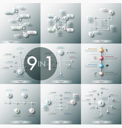 Collection of 9 modern infographic design vector
