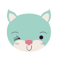 Colorful caricature cute face of kitten wink eye vector