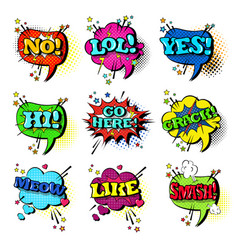 comic speech chat bubble set pop art style sound vector image vector image