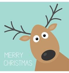 Cute cartoon deer face with horn merry christmas vector