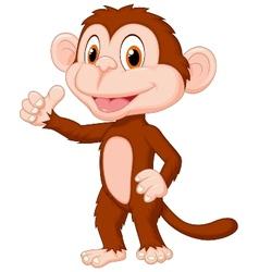 Cute monkey cartoon giving thumb up vector