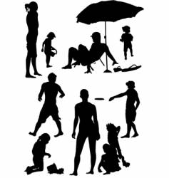 Family beach silhouettes vector