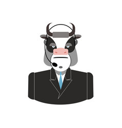 Farm call center cow with headset bull feedback vector