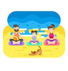 Flat style of family doing yoga with dog vector