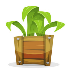 Funny green plant in wood bucket vector