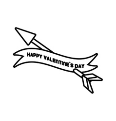 happy valentines day card heart arrow outline vector image