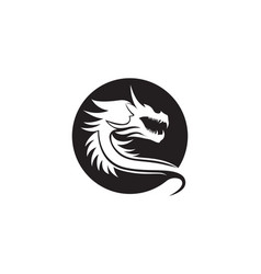Head dragon flat color logo template vector