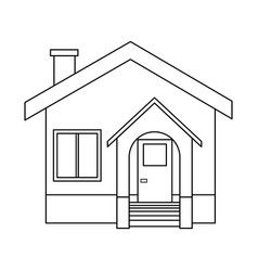 House facade residence stairs door window vector