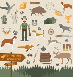 Hunting icon set dog hunting equipment flat style vector