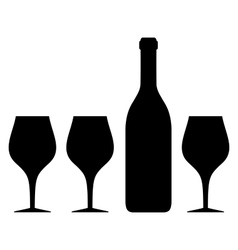 isolated glass and bottle silhouette vector image vector image