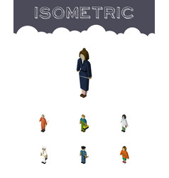 Isometric people set of lady doctor cleaner and vector