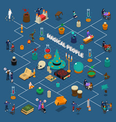 Magical people isometric infographics vector