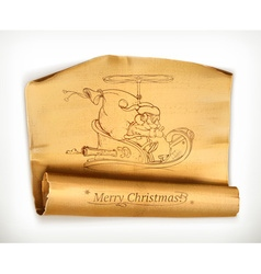 Merry Christmas old scroll vector image