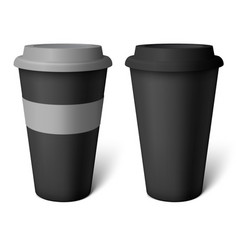 Mockup black coffee cup vector