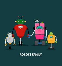 robots family with kids vector image