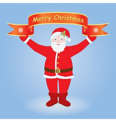 Santa holding Merry Christmas banner vector image vector image