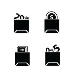 shopping bags set and price icon vector image