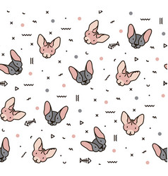 simple pattern with cats and geometric shapes vector image