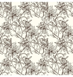 Sketch zentangle seamless floral pattern vector image vector image