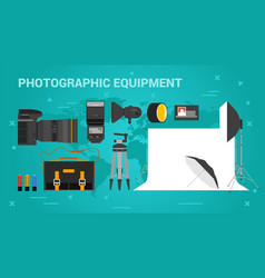 Three banners photographic equpment vector