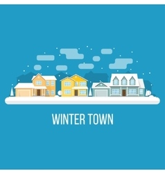 Winter town landscape vector image