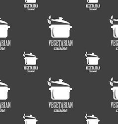 Vegetarian cuisine sign seamless pattern on a gray vector