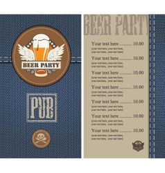 beer menu jeans vector image