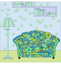 Cartoon funny interior with couch painted blue and vector image