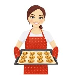 Woman baking cookies vector image