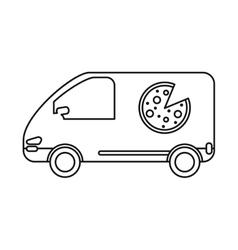 Pizza delivery car van service outline vector