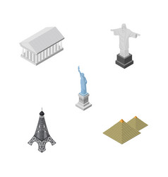 Isometric cities set of new york paris athens vector