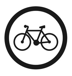 No bicycle bike prohibited sign line icon vector