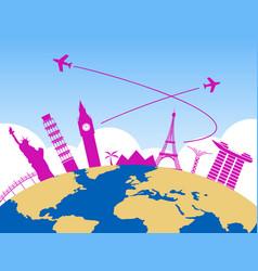 Worldwide air travel background vector