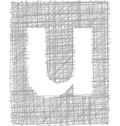 Freehand typography letter u vector