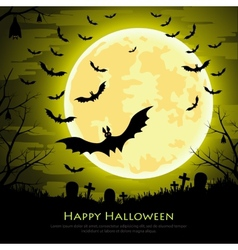 Happy halloween background with moon and bats vector