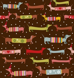 Fun dogsnow holiday pattern vector