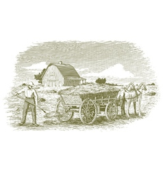 Woodcut hay farmer vector