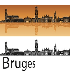 Bruges skyline in orange background vector